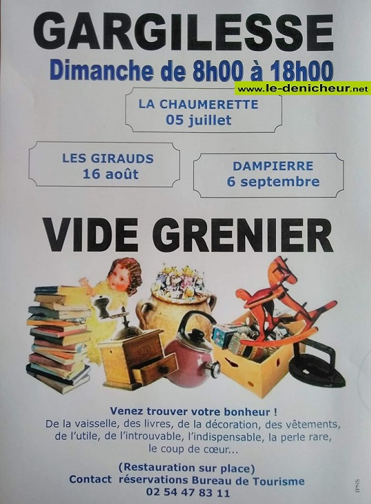 h16 - DIM 16 août - GARGILESSE - Vide grenier * 00385