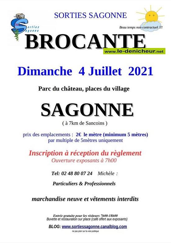 s04 - DIM 04 juillet - SAGONNE - Brocante * 00542