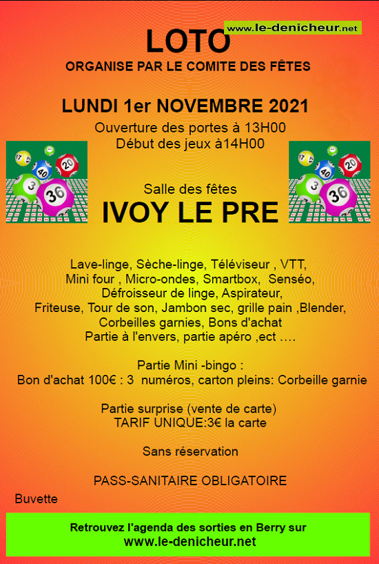 w01 - LUN 01 novembre - IVOY LE PRE - Loto du comité des fêtes */ 00565