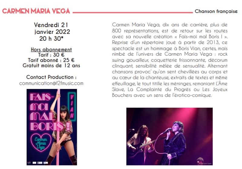 ya21 - VEN 21 janvier - LE POINCONNET - Carmen Maria Vega (chanson française) 01-21_10