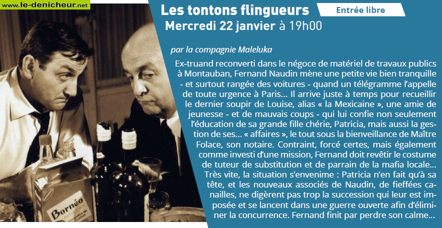a22 - MER 22 janvier - VIERZON - Les Tontons Flingueurs (théâtre)* 01-2210