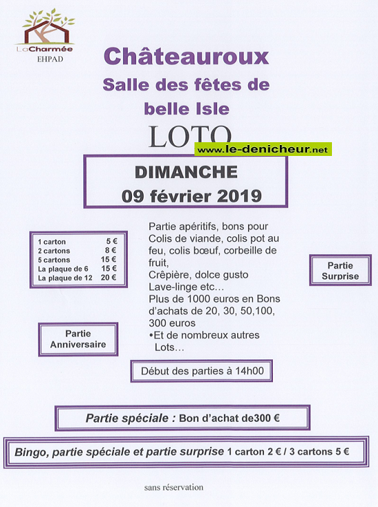 """b09 - DIM 09 février - CHATEAUROUX - Loto de l'Ehpad """"La Charmée"""" */ 02-09_20"""