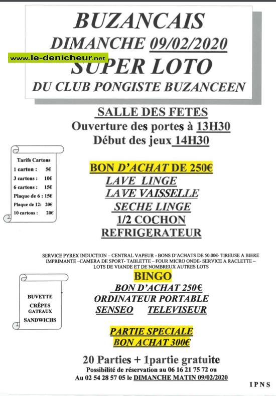 b09 - DIM 09 février - BUZANCAIS - Loto du Club Pongiste */ 02-09_23