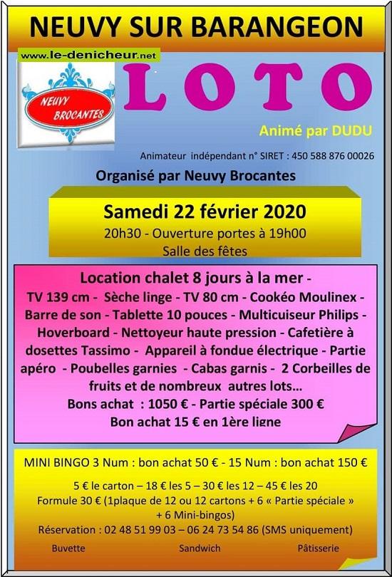 b22 - SAM 22 février - NEUVY /Barangeon - Loto de Neuvy Brocantes */ 02-22_16