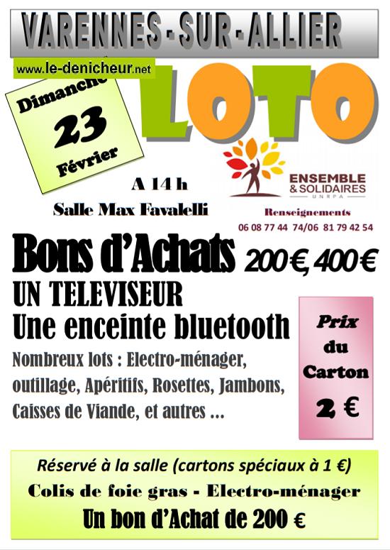 b23 - DIM 23 février - VARENNES /Allier - Loto de l'UNRPA */ 02-23_23