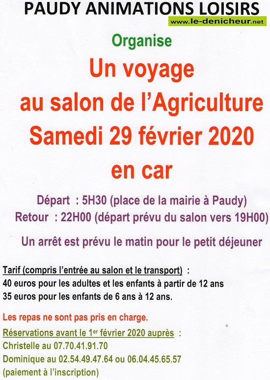 b29 - SAM 29 février - PAUDY - Voyage au Salon de l'Agriculture */ 02-2910