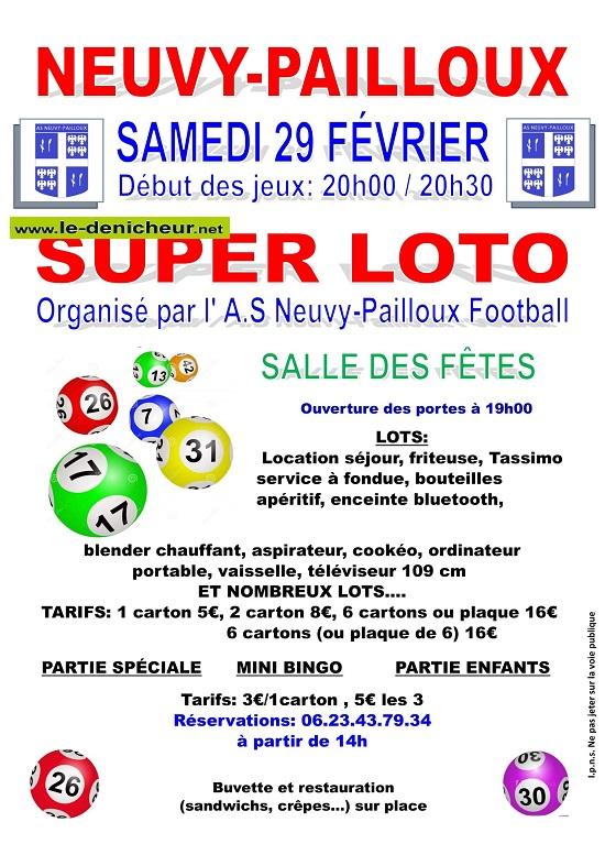 b29 - SAM 29 février - NEUVY PAILLOUX - Loto du foot */ 02-29_10