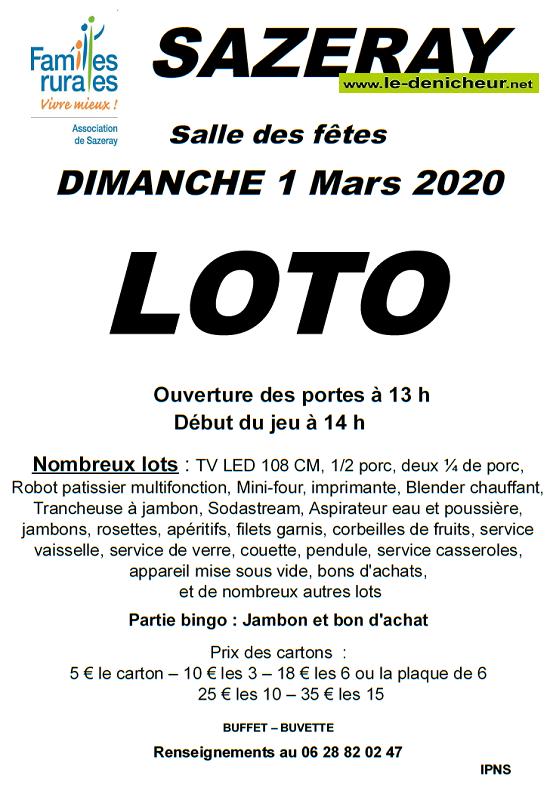 c01 - DIM 01 mars - SAZERAY - Loto de Familles rurales */ 03-01_19