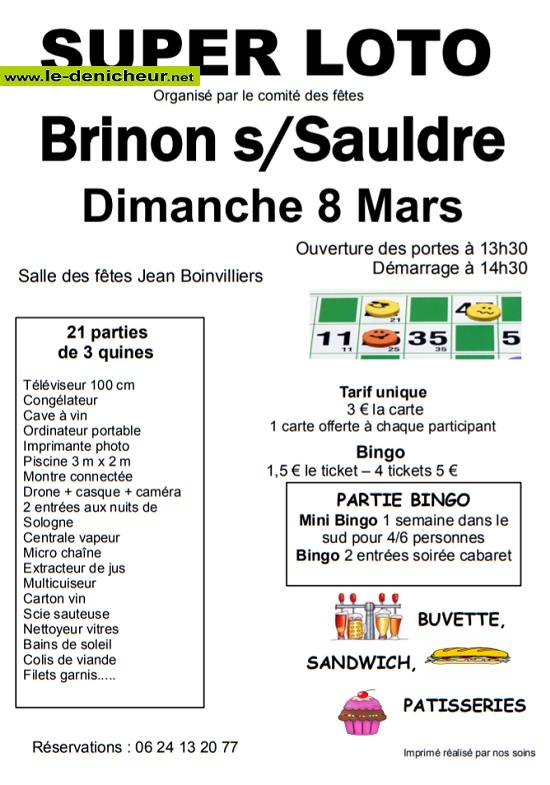 c08 - DIM 08 mars - BRINON /Sauldre - Loto du comité des fêtes */ 03-08_17