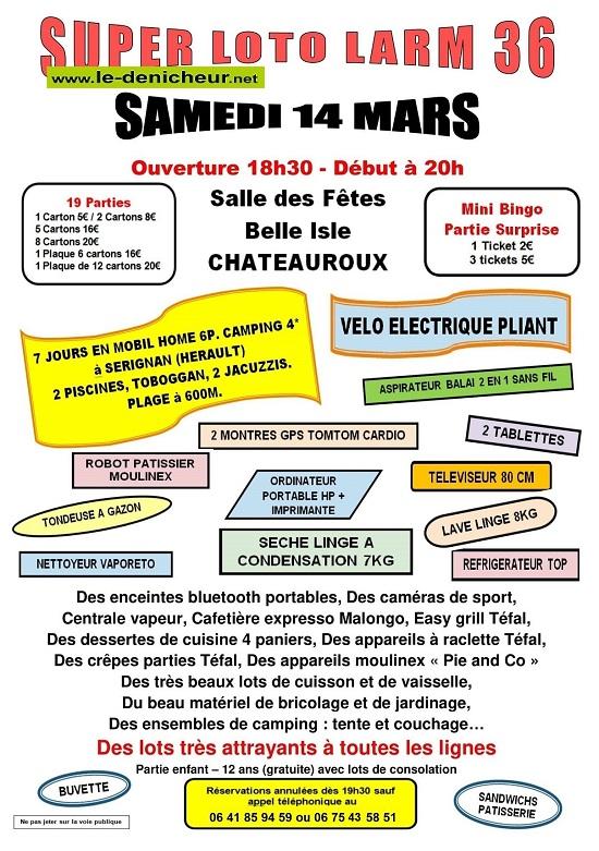 c14 - SAM 14 mars - CHATEAUROUX - Loto de LARM 36 */ 03-14_14