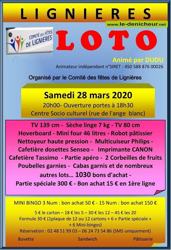 c28 - SAM 28 mars - LIGNIERES - Loto du comité des fêtes */ 03-29_24