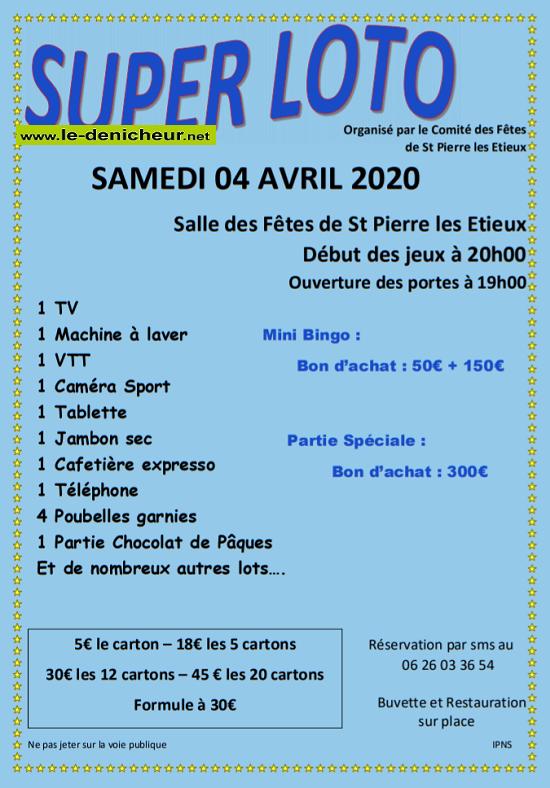 d04 - SAM 04 avril - ST-PIERRE LES ETIEUX- Loto du comité des fêtes */ 04-04_12
