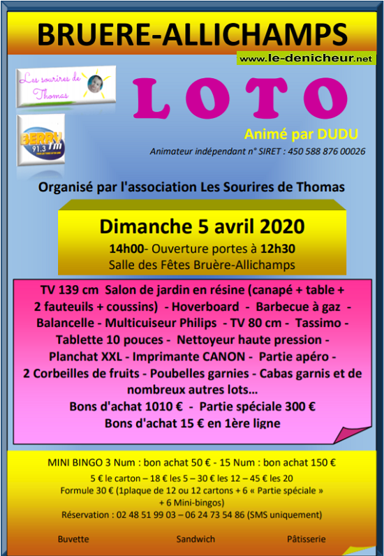 d05 - DIM 05 avril - BRUERE-ALLICHAMPS - Loto dess sourires de Thomas annulé */ 04-05_19