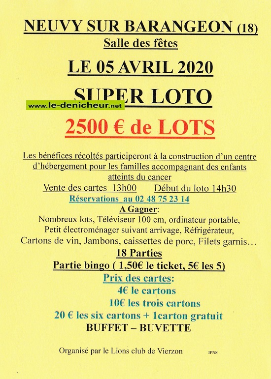 d05 - DIM 05 avril - NEUVY /Barangeon - Loto du Lions Club de Vierzon */ 04-05_22