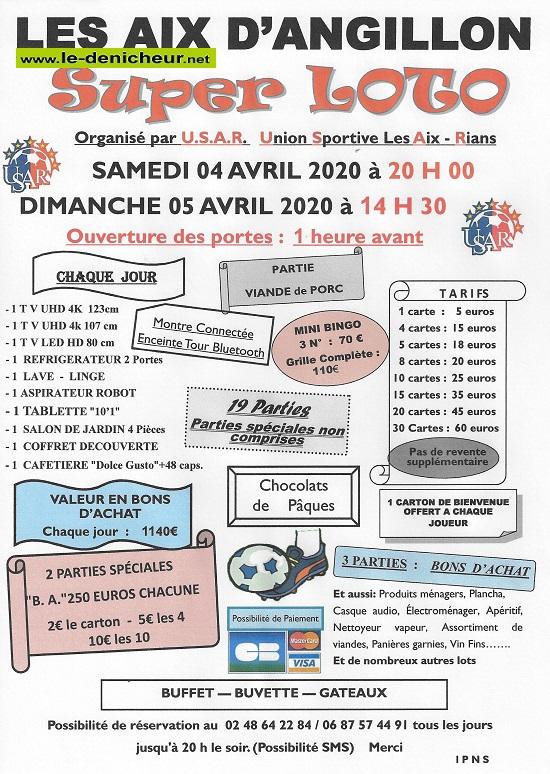 d05 - DIM 05 avril - LES AIX D'ANGILLON - Loto de l'USAR annulé */ 04-05_24