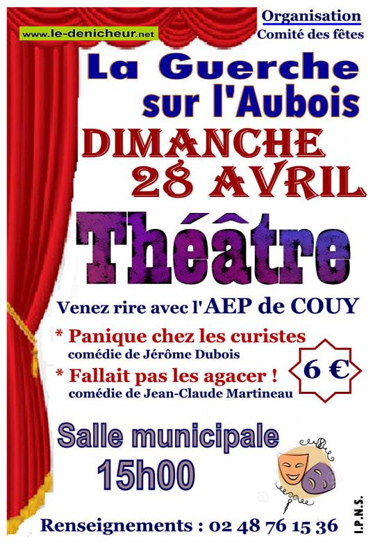 p28 - DIM 28 avril - LA GUERCHE /l'Aubois - Après-midi théâtre */ 04-28_18
