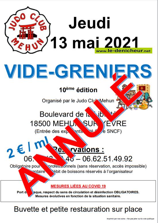 q13 - JEU 13 mai - MEHUN /Yèvre - Vide greniers du Judo annulé _* 05-1310