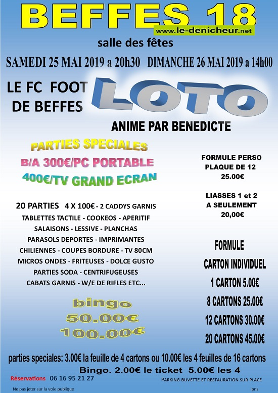 q26 - DIM 26 mai - BEFFES - Loto du foot */ 05-2510