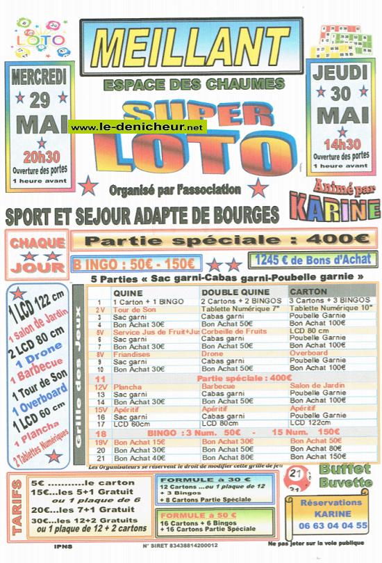 q30 - JEU 30 mai - MEILLANT - Loto de Sport et Séjour Adapté de Bourges */ 05-29_11
