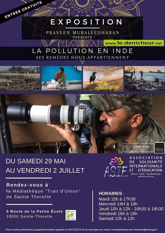 """s02 - Jusqu'au 2 juillet - STE-THORETTE - Exposition """"La pollution en Inde"""" * 05-29_18"""