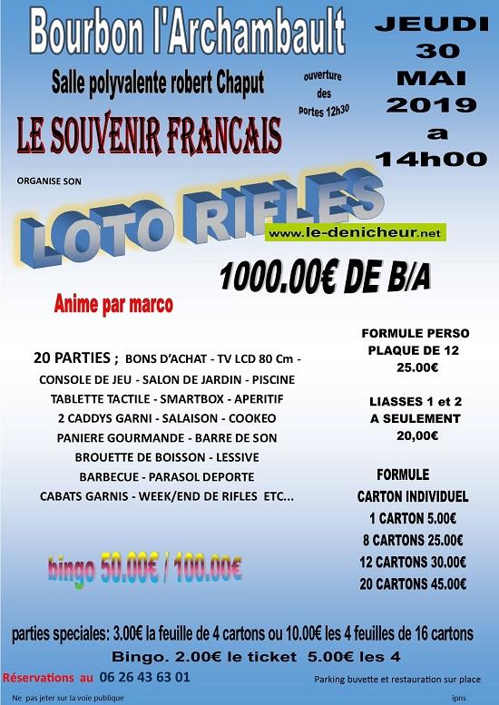 q30 - JEU 30 mai - BOURBON L'ARCHAMBAULT - loto du Souvenir Français */ 05-3010