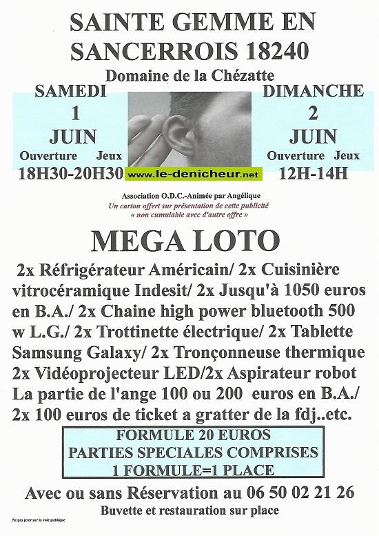 r01 - SAM 01 juin - STE-GEMME en Sancerrois - Loto d'O.D.C */ 06-01_16