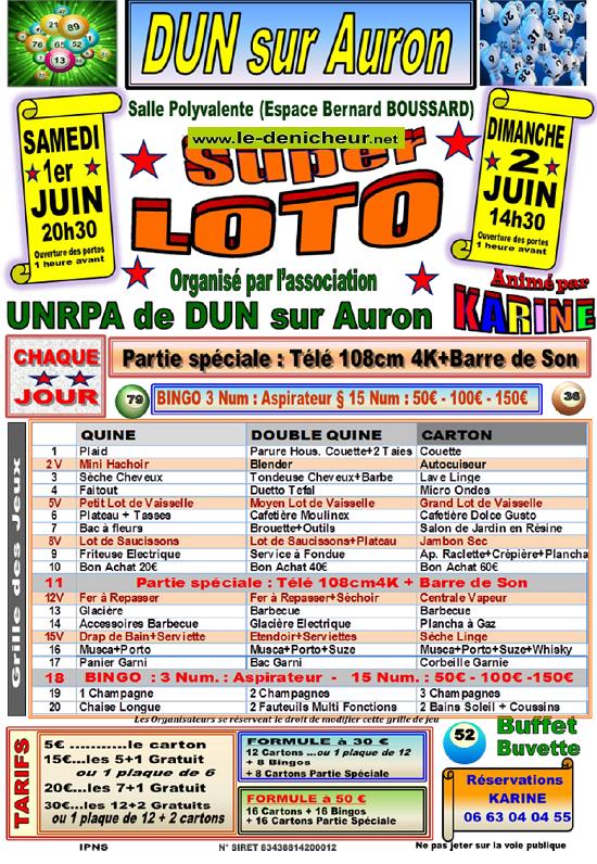 r02 - DIM 02 juin - DUN /Auron - Loto de l'UNRPA */ 06-01_16