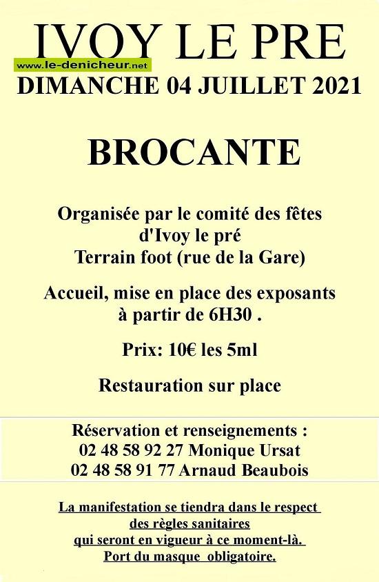 s04 - DIM 04 juillet - IVOY LE PRE - Brocante du comité des fêtes */ 07-04_24