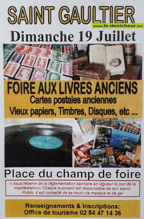 g19 - DIM 19 juillet - ST-GAULTIER - Foire aux livres anciens, cartes postales ... 07-19_20