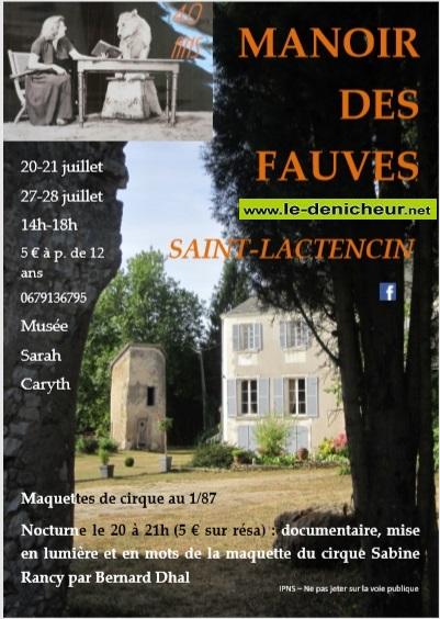 s28 - DIM 28 juillet - ST-LACTENCIN - Journées du Manoir des Fauves */ 07-2011