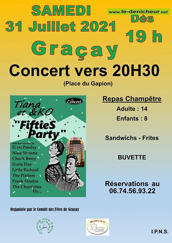 """s31 - SAM 31 juillet - GRACAY - Concert """"Fifties Party"""" */ 07-3111"""