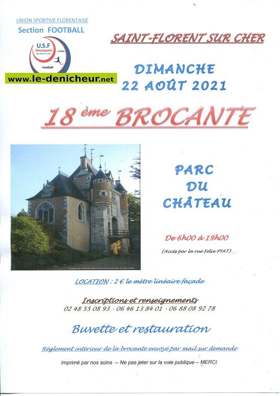 t22 - DIM 22 août - ST-FLORENT /Cher - Brocante du foot */ 08-10