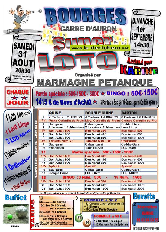u01 - DIM 01 septembre - BOURGES - Loto de Marmagne Pétanque */ 08-31_15