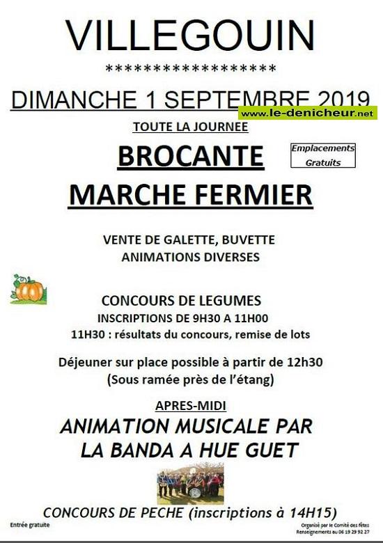 u01 - DIM 01 septembre - VILLEGOUIN - Brocante du comité des fêtes * 09-01_24