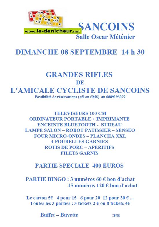u08 - DIM 08 septembre - SANCOINS - Rifles de l'Amicale cycliste * 09-08_19