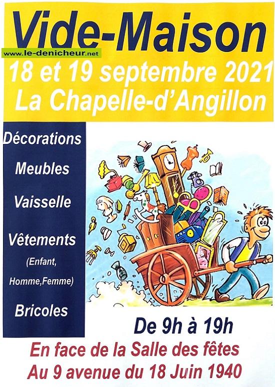 u18 - SAM 18 septembre - LA CHAPELLE D'ANGILLON - Vide maison * 09-18_18