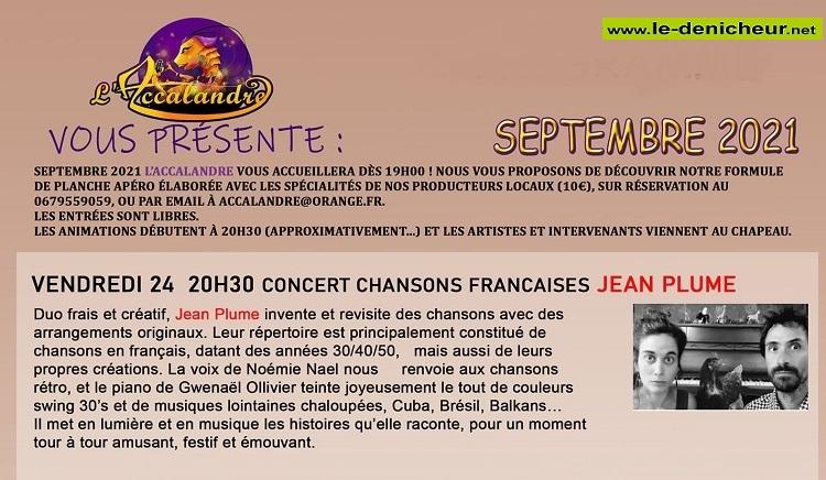u24 - VEN 24 septembre - REIGNY - Jean Plume en concert (chanson française) 09-2410