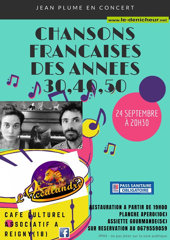 u24 - VEN 24 septembre - REIGNY - Jean Plume en concert (chanson française) 09-24_13