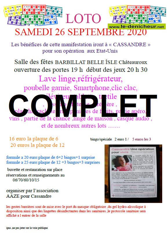 i26 - SAM 26 septembre - CHATEAUROUX -  Loto pour Cassandre  COMPLET */ 09-26_16