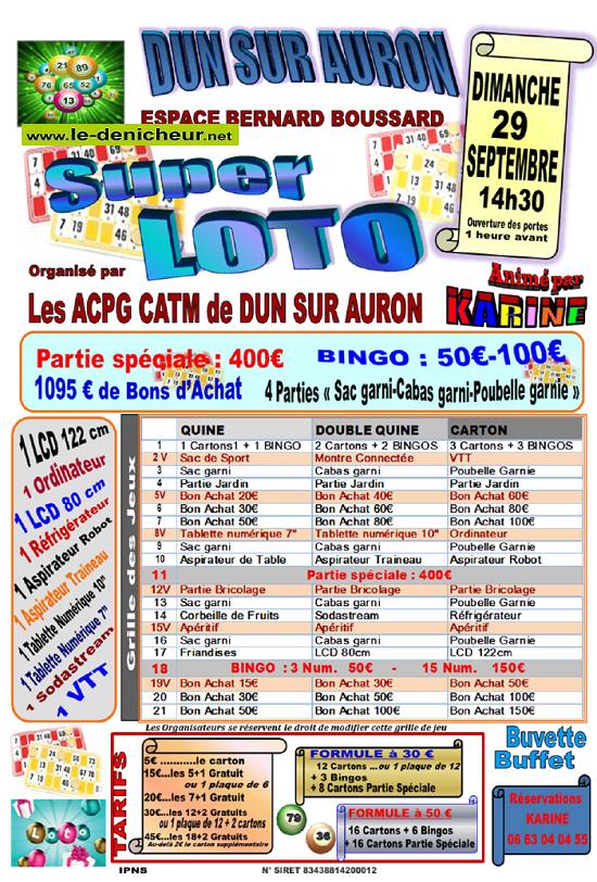 u29 - DIM 29 septembre - DUN /Auron - Loto des ACPG-CATM * 09-29_31