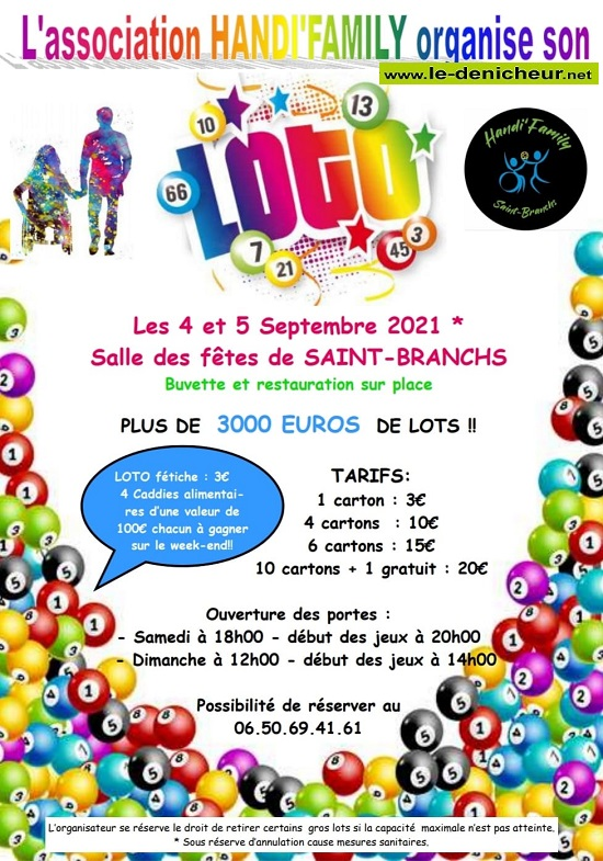 "u04 - DIM 04 septembre - ST-BRANCHS - Loto de ""Handi'Family"" _* 09-3710"
