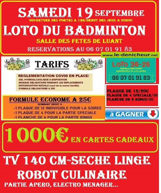 i19 - SAM 19 septembre - LUANT - Loto du Badminton */ 09-zo110