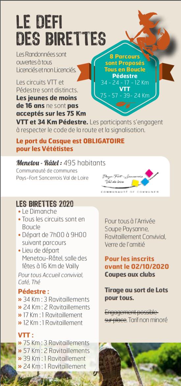 """j04 - DIM 04 octobre - VAILLY /SAULDRE - Randonnée pédestre et VTT """"19e Défi des Birettes""""*/ 10-04_20"""