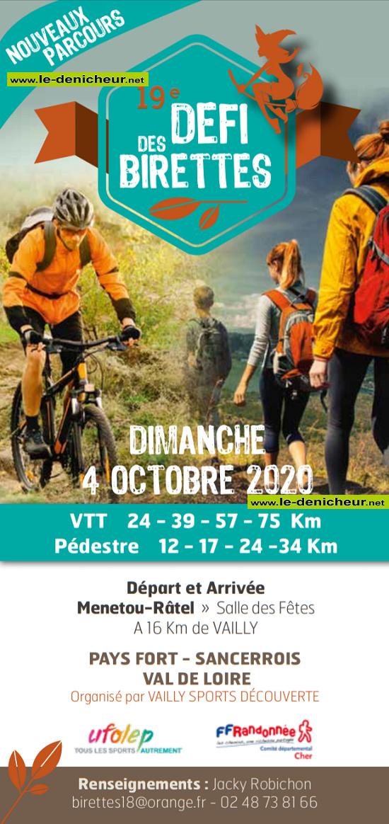 """j04 - DIM 04 octobre - VAILLY /SAULDRE - Randonnée pédestre et VTT """"19e Défi des Birettes""""*/ 10-04_21"""