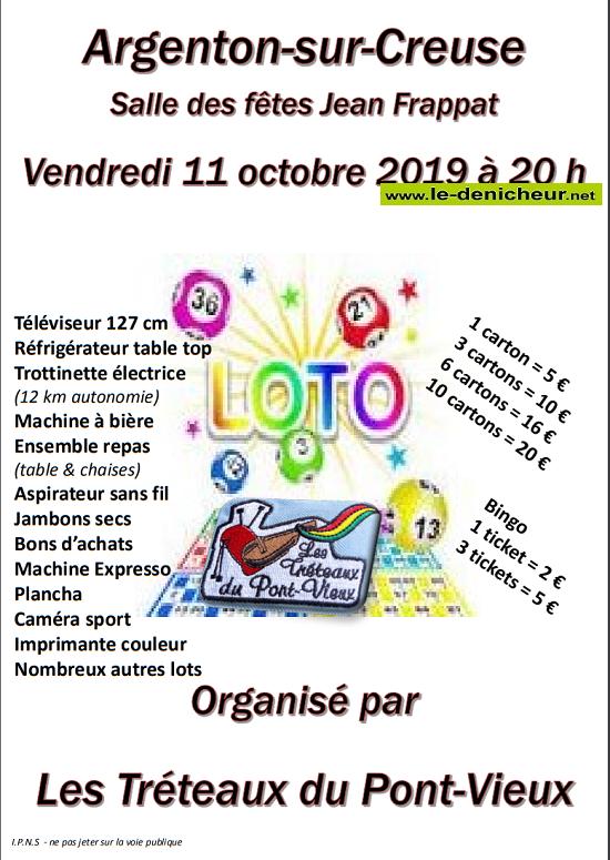 v11 - VEN 11 octobre - ARGENTON /Creuse - Loto des Tréteaux du Pont-Vieux */ 10-11_12