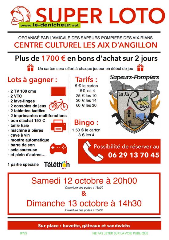 v13 - DIM 13 octobre - LES AIX D'ANGILLON - Loto des sapeurs pompiers */ 10-12_20