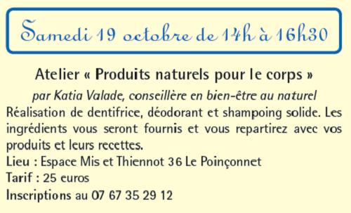 v19 - SAM 19 octobre - LE POINCONNET - Atelier Produit naturel pour le corps 10-1910