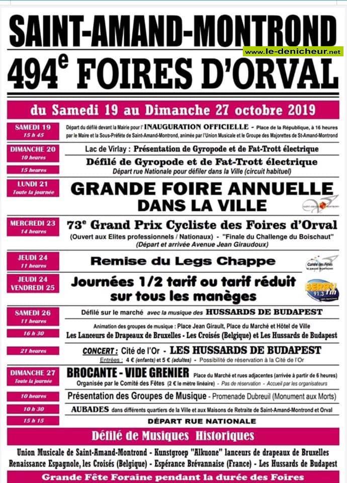 v19 - Du 19 au 27 octobre - ST-AMAND-MONTROND - Foires d'Orval */ 10-19_21