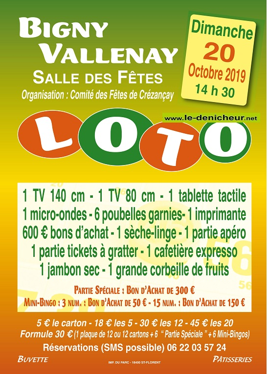 v20  - DIM 20 octobre - BIGNY VALLENAY - Loto du comité des fêtes de Crézancay */ 10-20_40