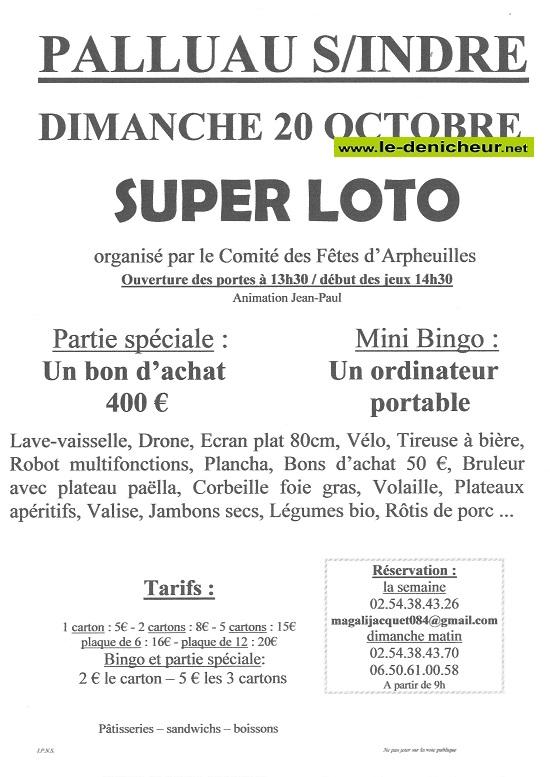 v20 - DIM 20 octobre - PALLUAU /Indre - Loto du Comité des Fêtes d'Arpheuilles */ 10-20_45